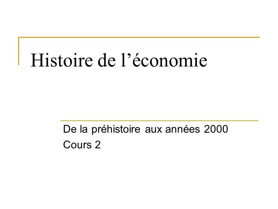Histoire de l'économie