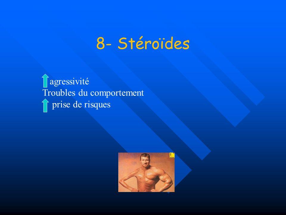 8- Stéroïdes agressivité Troubles du comportement prise de risques