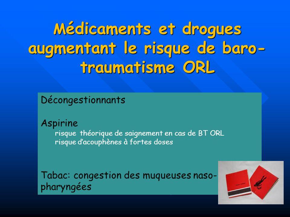 Médicaments et drogues augmentant le risque de baro-traumatisme ORL