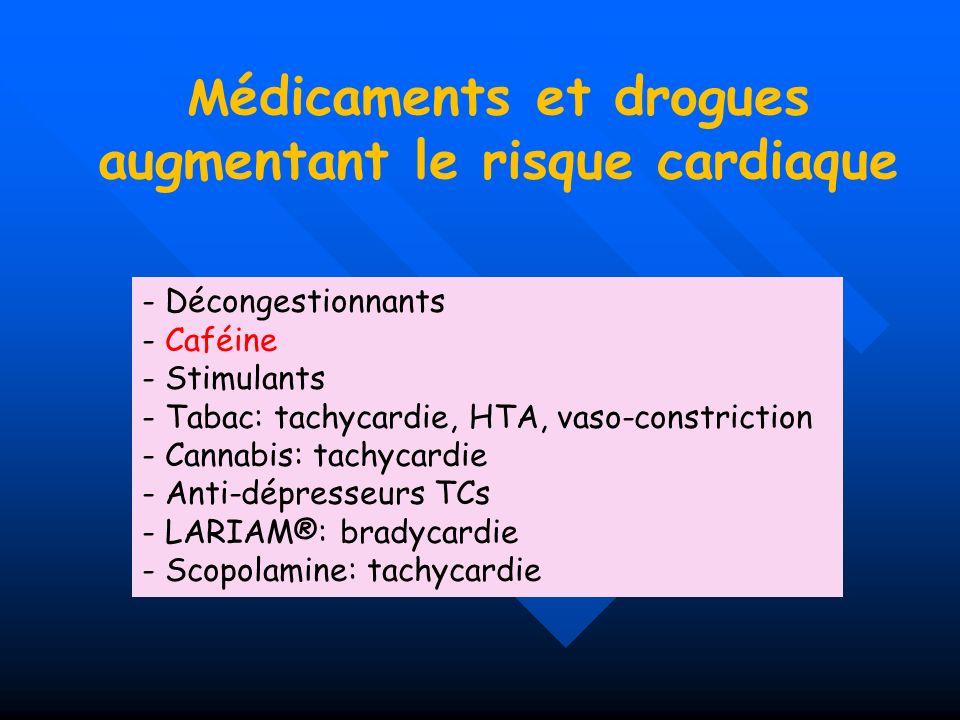 Médicaments et drogues augmentant le risque cardiaque