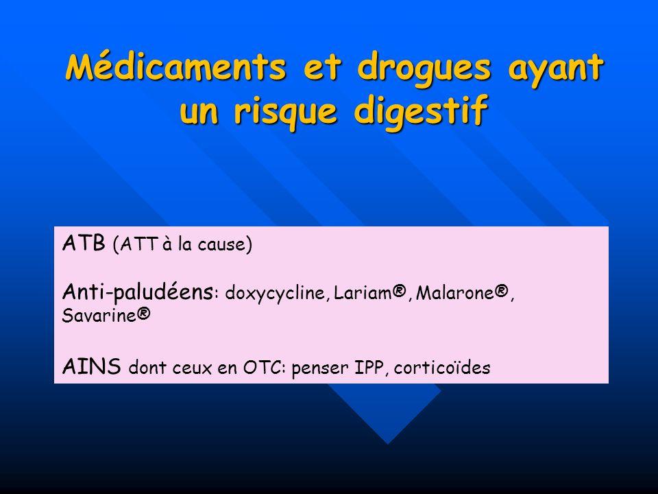 Médicaments et drogues ayant un risque digestif