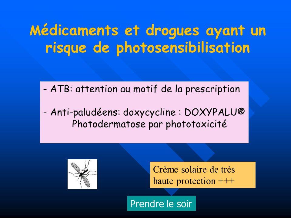 Médicaments et drogues ayant un risque de photosensibilisation