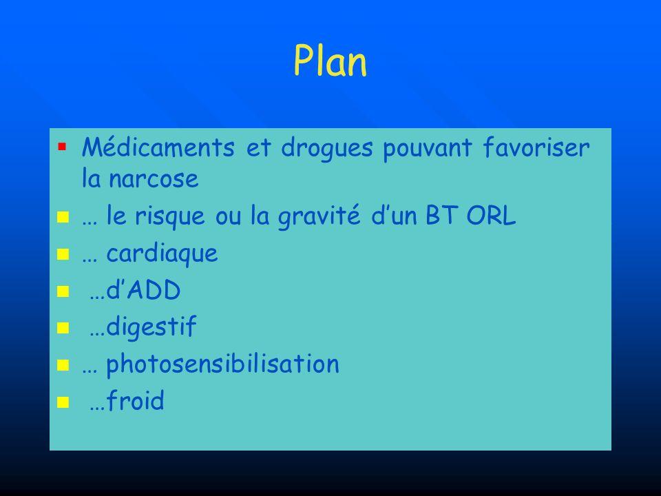 Plan Médicaments et drogues pouvant favoriser la narcose
