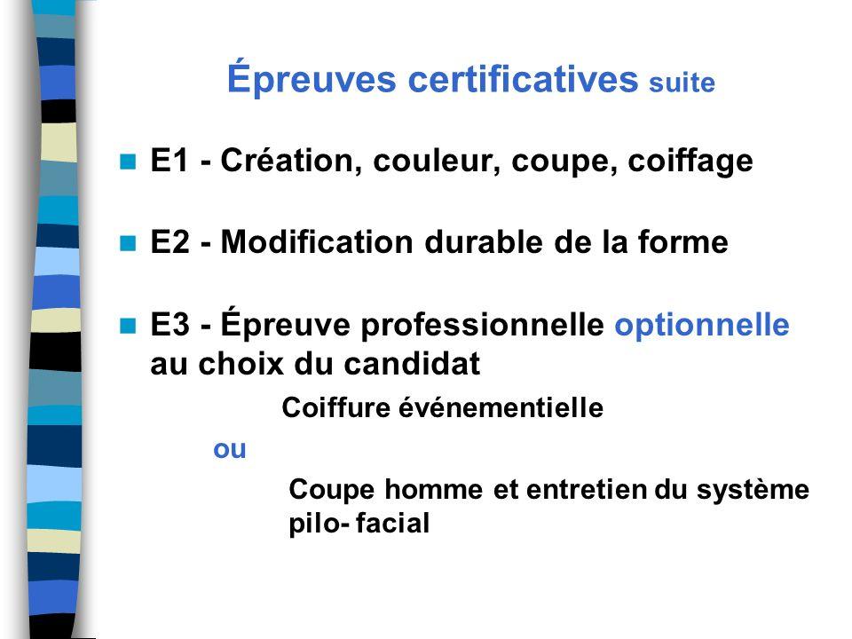 Épreuves certificatives suite