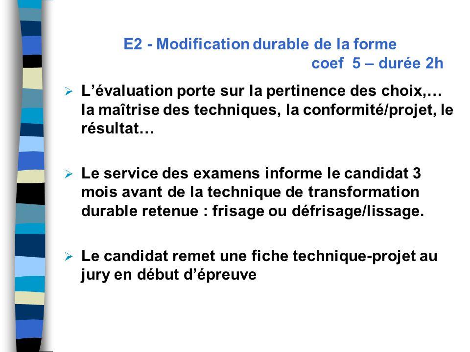 E2 - Modification durable de la forme coef 5 – durée 2h