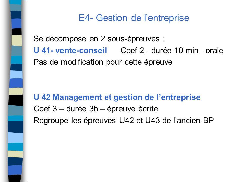 E4- Gestion de l'entreprise