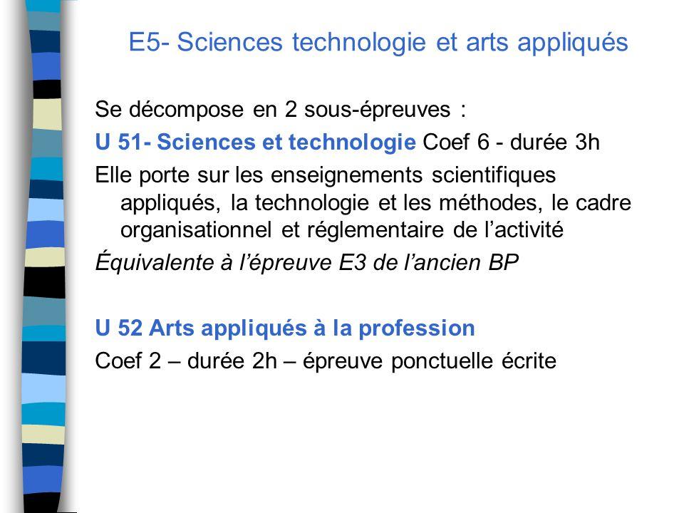 E5- Sciences technologie et arts appliqués