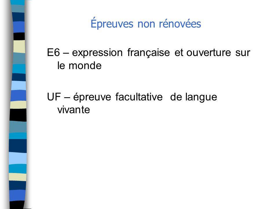 Épreuves non rénovées E6 – expression française et ouverture sur le monde.