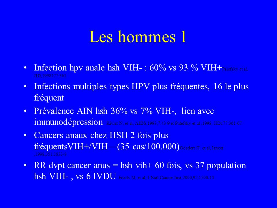 Les hommes 1 Infection hpv anale hsh VIH- : 60% vs 93 % VIH+Palefsky et al, JID,1998177:361.