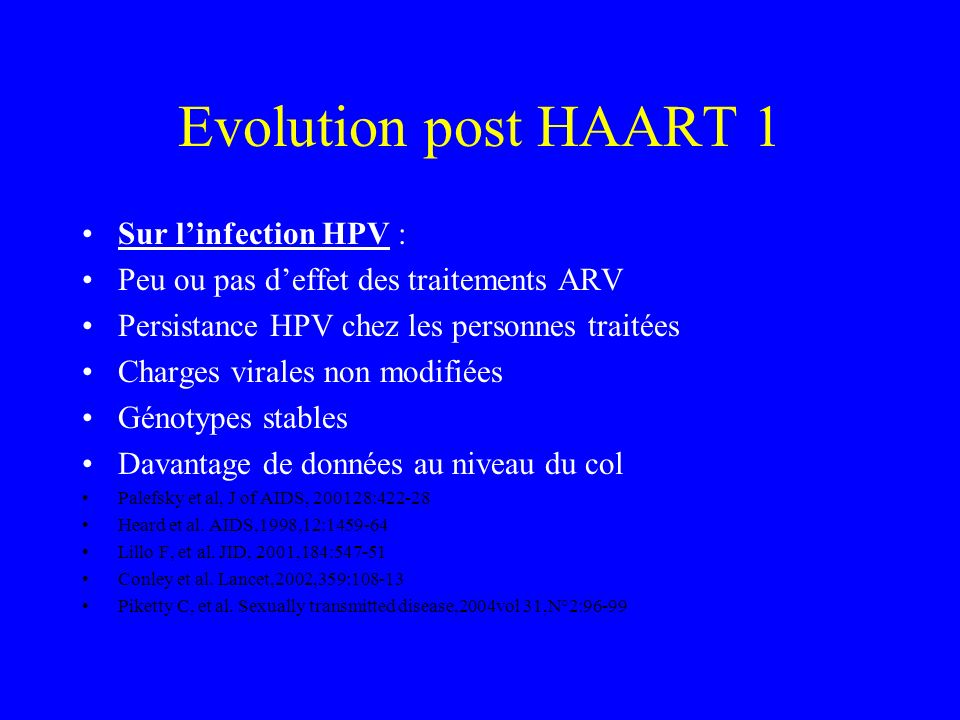 Evolution post HAART 1 Sur l'infection HPV :