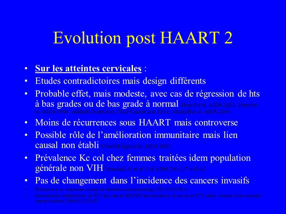 Evolution post HAART 2 Sur les atteintes cervicales :
