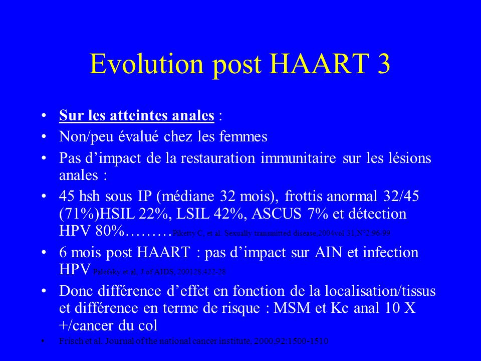 Evolution post HAART 3 Sur les atteintes anales :