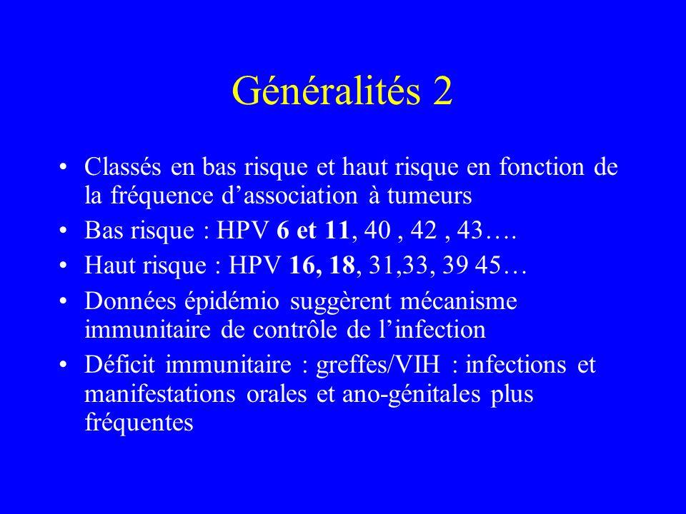 Généralités 2 Classés en bas risque et haut risque en fonction de la fréquence d'association à tumeurs.