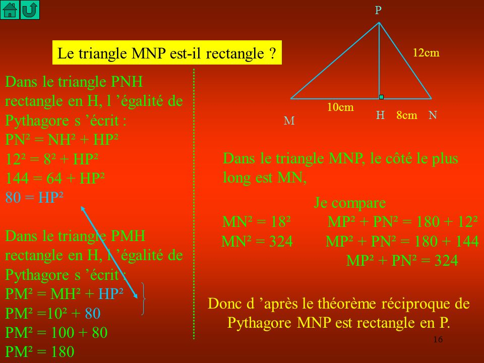 Le triangle MNP est-il rectangle