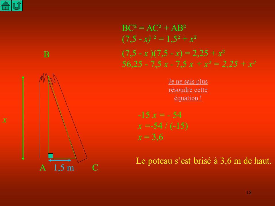 Je ne sais plus résoudre cette équation !