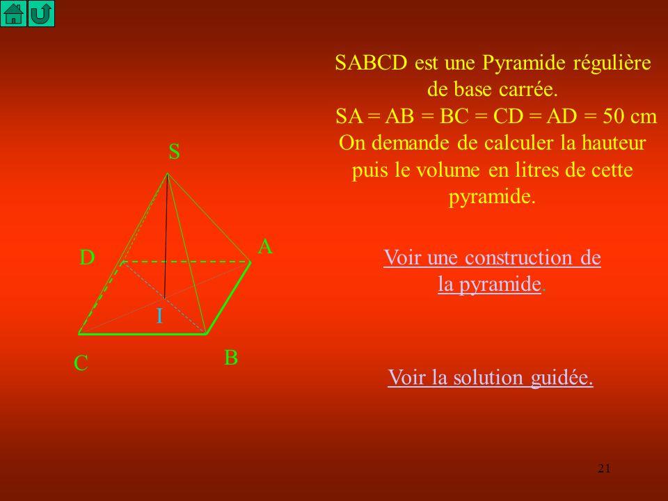 SABCD est une Pyramide régulière de base carrée.