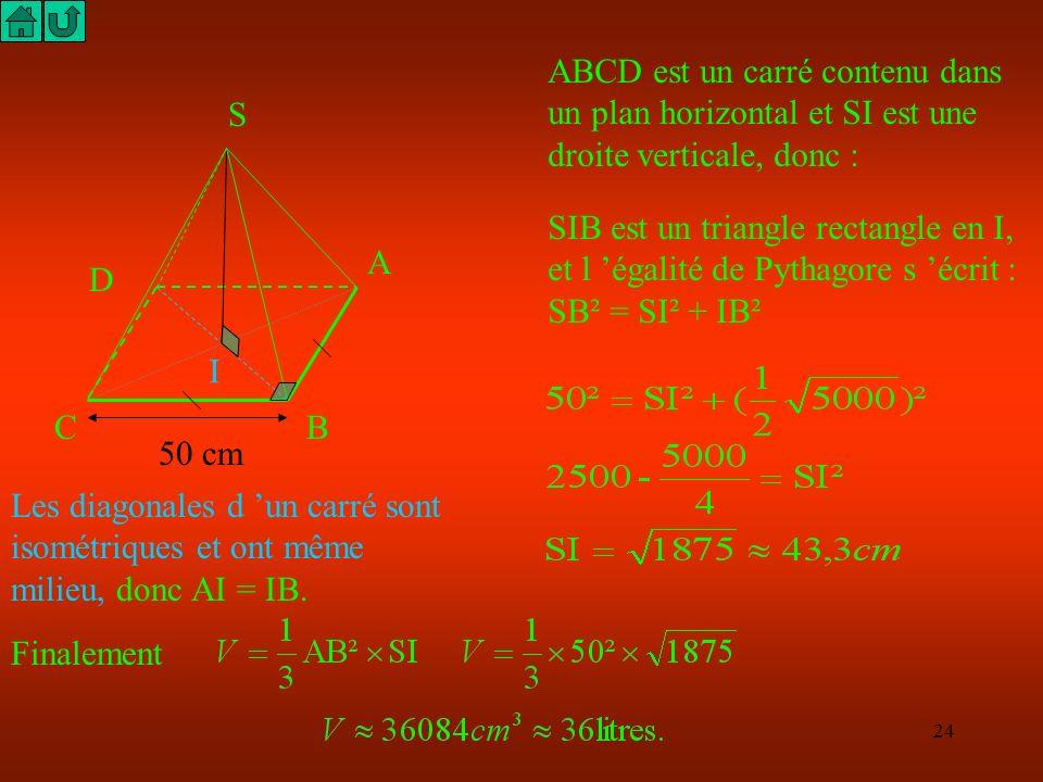 ABCD est un carré contenu dans un plan horizontal et SI est une droite verticale, donc :