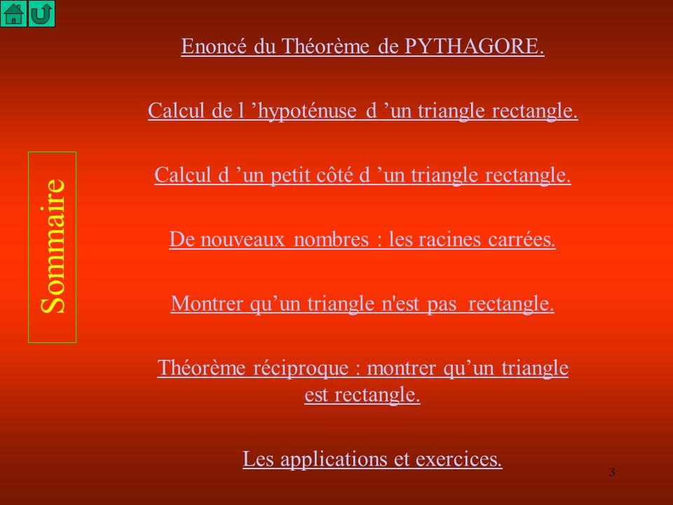 Sommaire Enoncé du Théorème de PYTHAGORE.