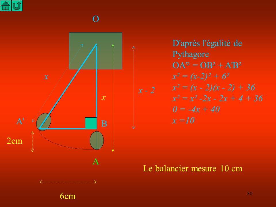 O D après l égalité de Pythagore. OA ² = OB² + A B². x² = (x-2)² + 6². x² = (x - 2)(x - 2) + 36.
