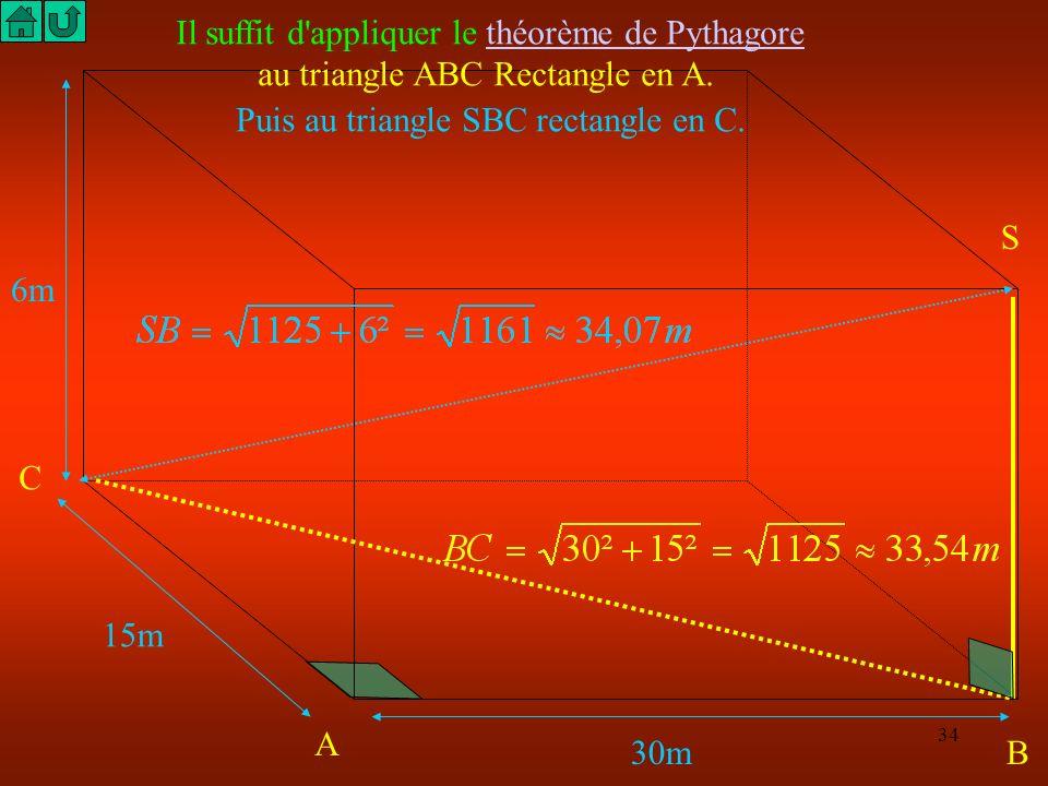 Il suffit d appliquer le théorème de Pythagore