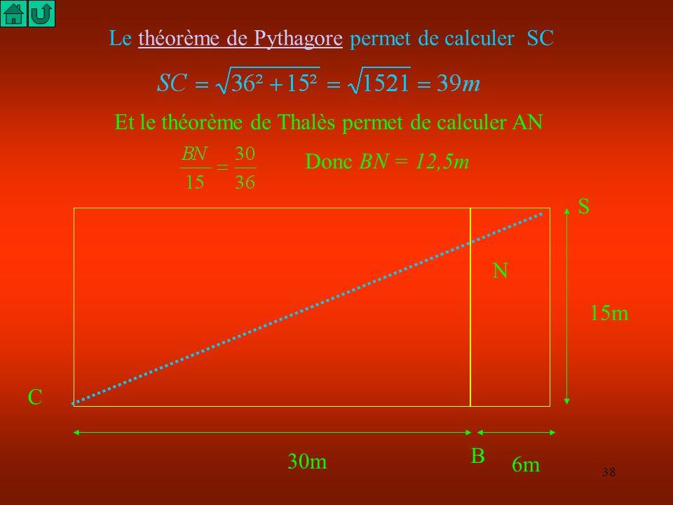 Le théorème de Pythagore permet de calculer SC