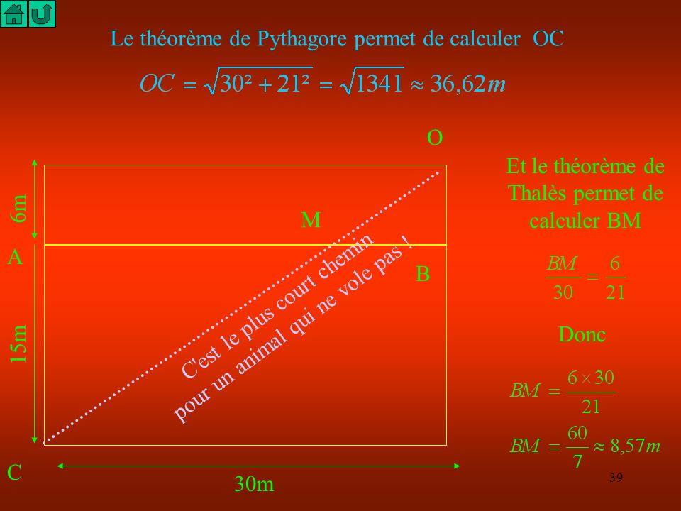 Le théorème de Pythagore permet de calculer OC