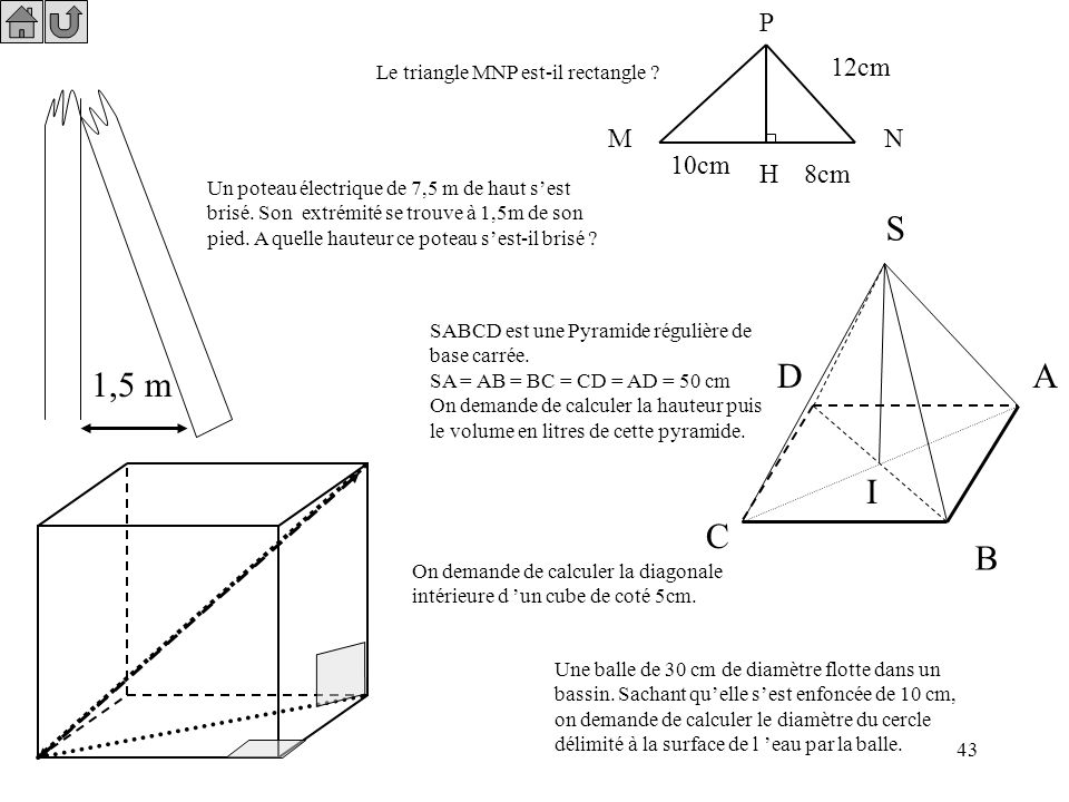 P 12cm. Le triangle MNP est-il rectangle M. N. 10cm. H. 8cm.