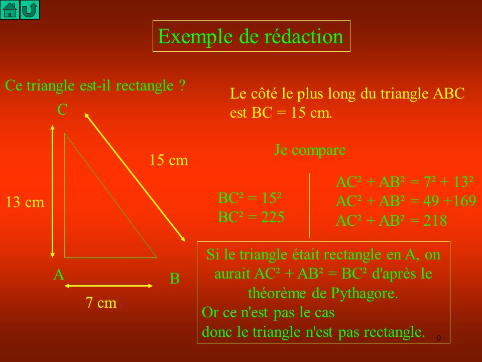 Exemple de rédaction Ce triangle est-il rectangle
