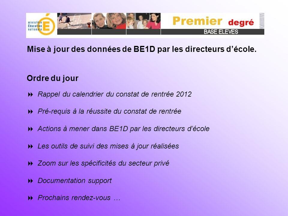 Mise à jour des données de BE1D par les directeurs d'école.