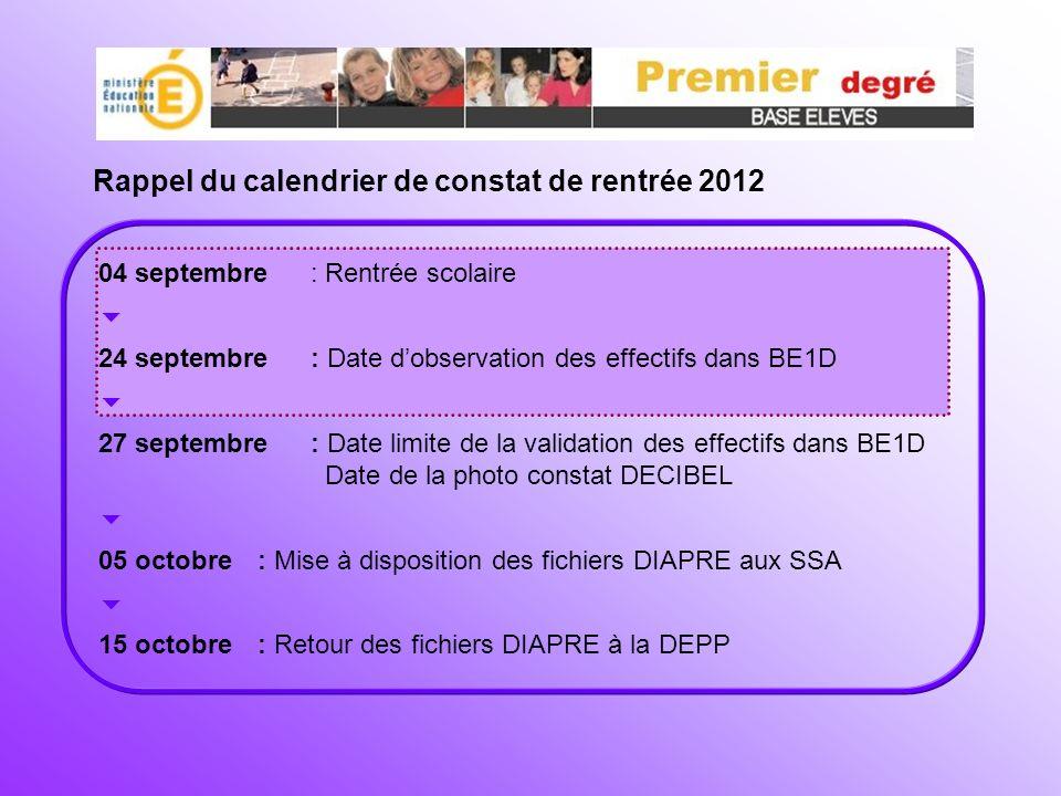 Rappel du calendrier de constat de rentrée 2012