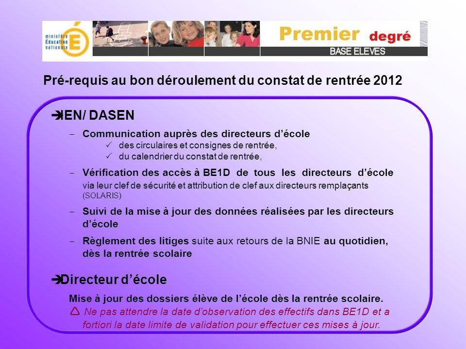 Pré-requis au bon déroulement du constat de rentrée 2012