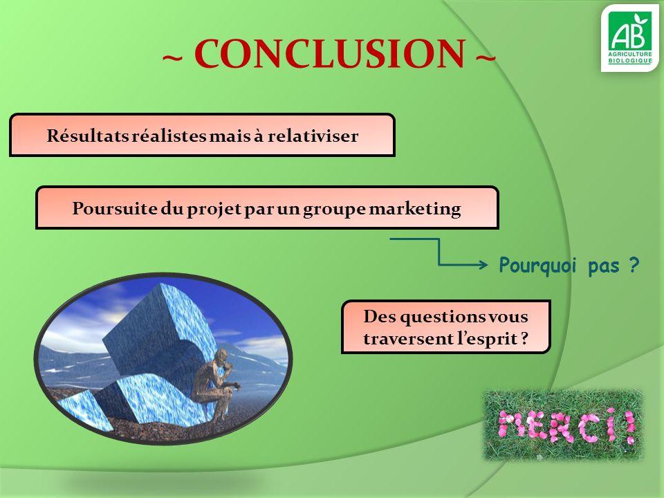 ~ CONCLUSION ~ Pourquoi pas Résultats réalistes mais à relativiser