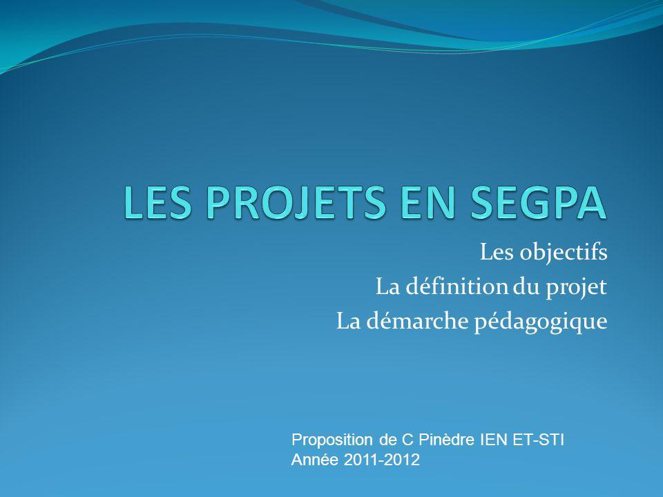 Les objectifs La définition du projet La démarche pédagogique
