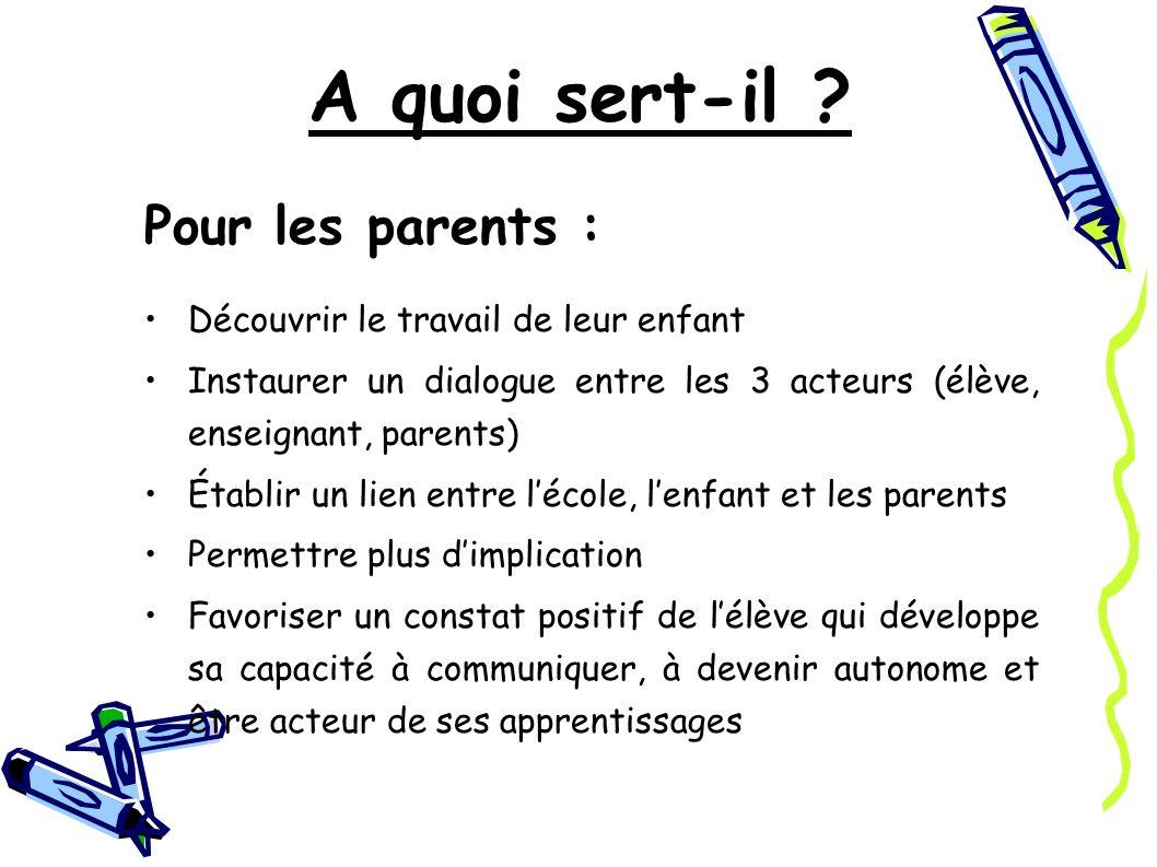 A quoi sert-il Pour les parents :