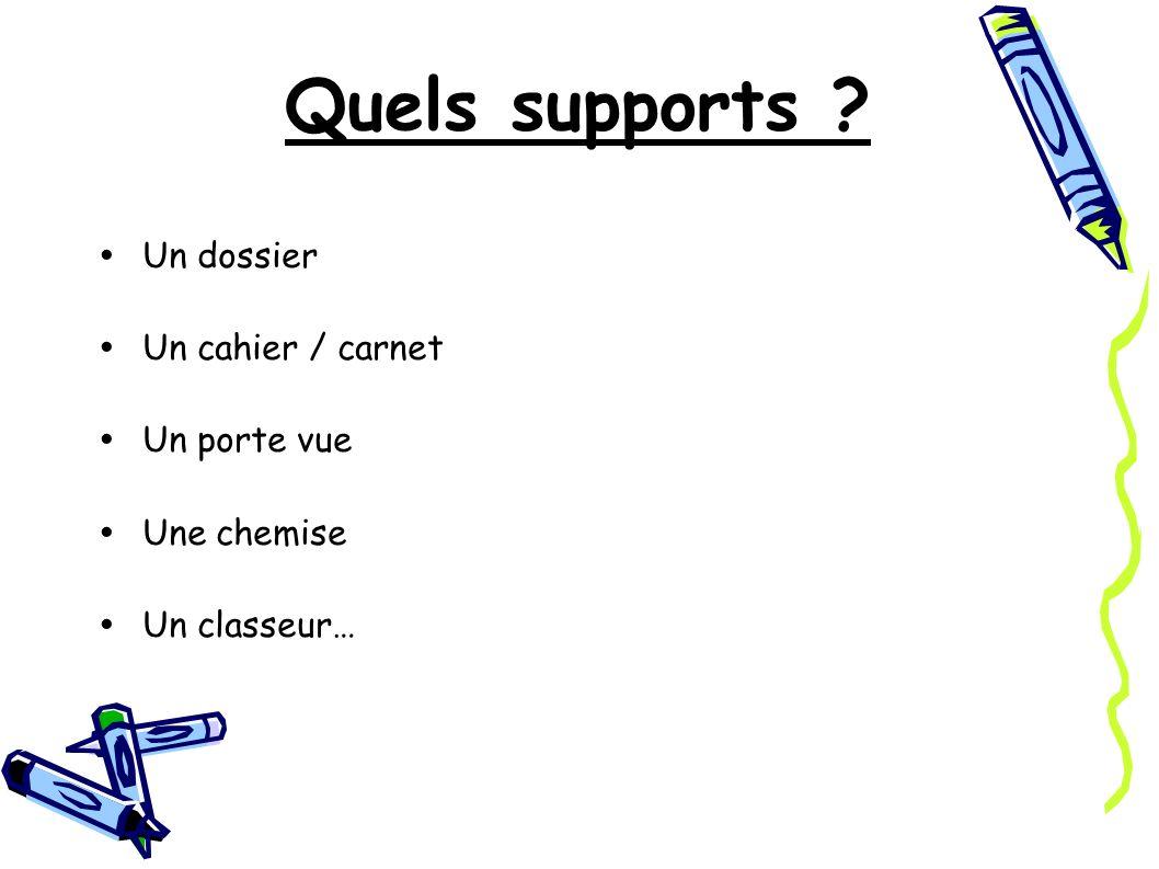 Quels supports Un dossier Un cahier / carnet Un porte vue