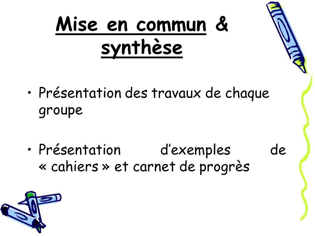 Mise en commun & synthèse