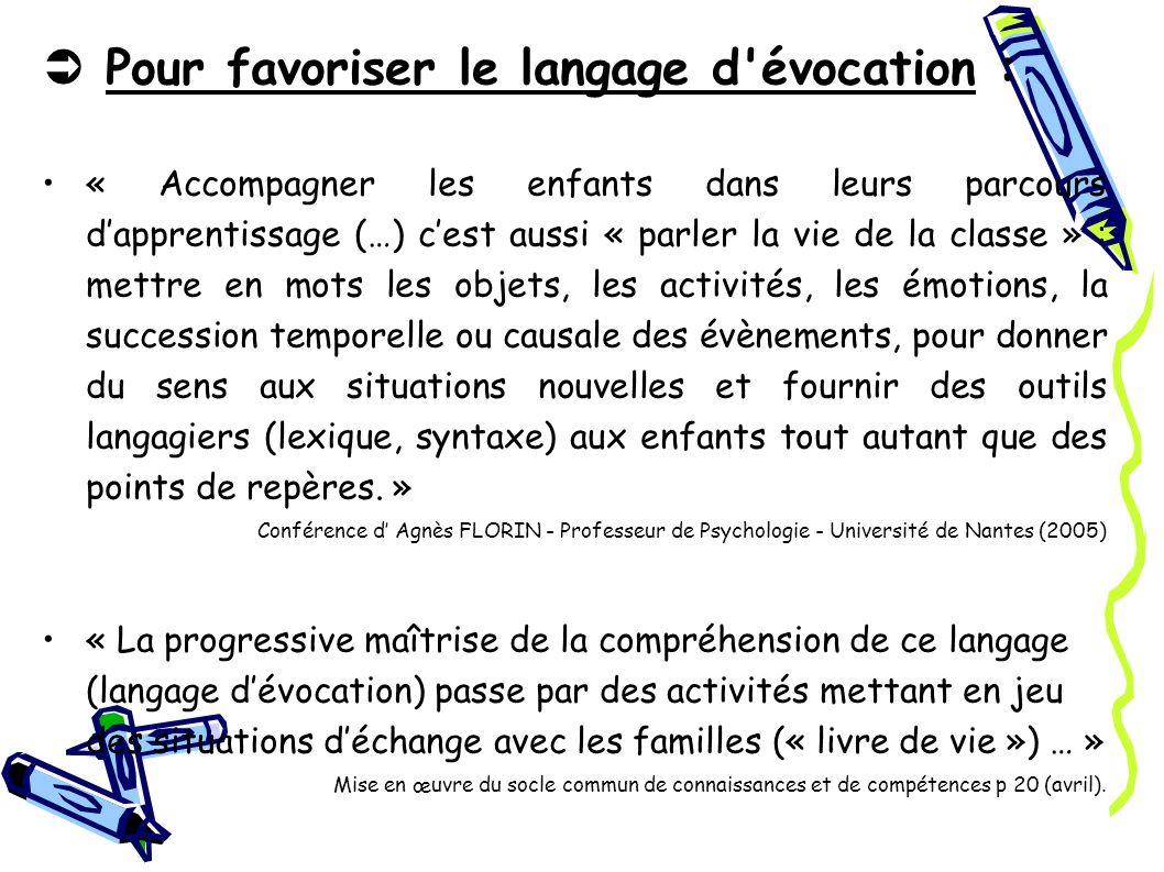  Pour favoriser le langage d évocation :