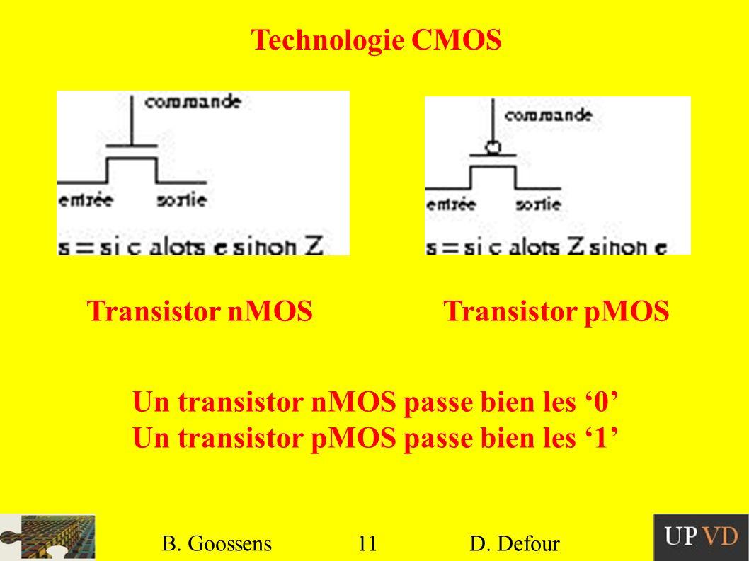 Un transistor nMOS passe bien les '0'