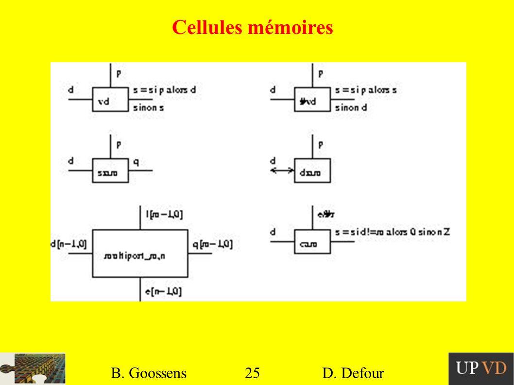 Cellules mémoires B. Goossens B. Goossens 25 25 D. Defour D. Defour