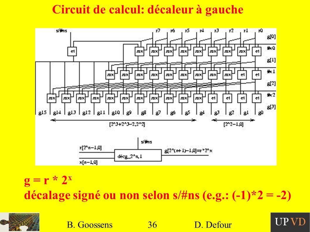 Circuit de calcul: décaleur à gauche