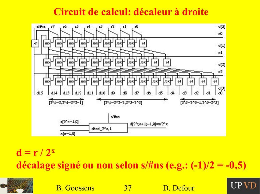 Circuit de calcul: décaleur à droite