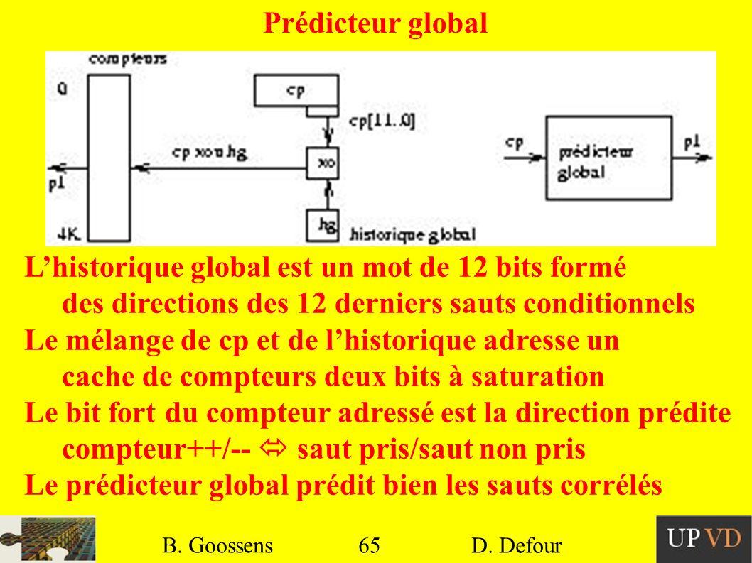 L'historique global est un mot de 12 bits formé