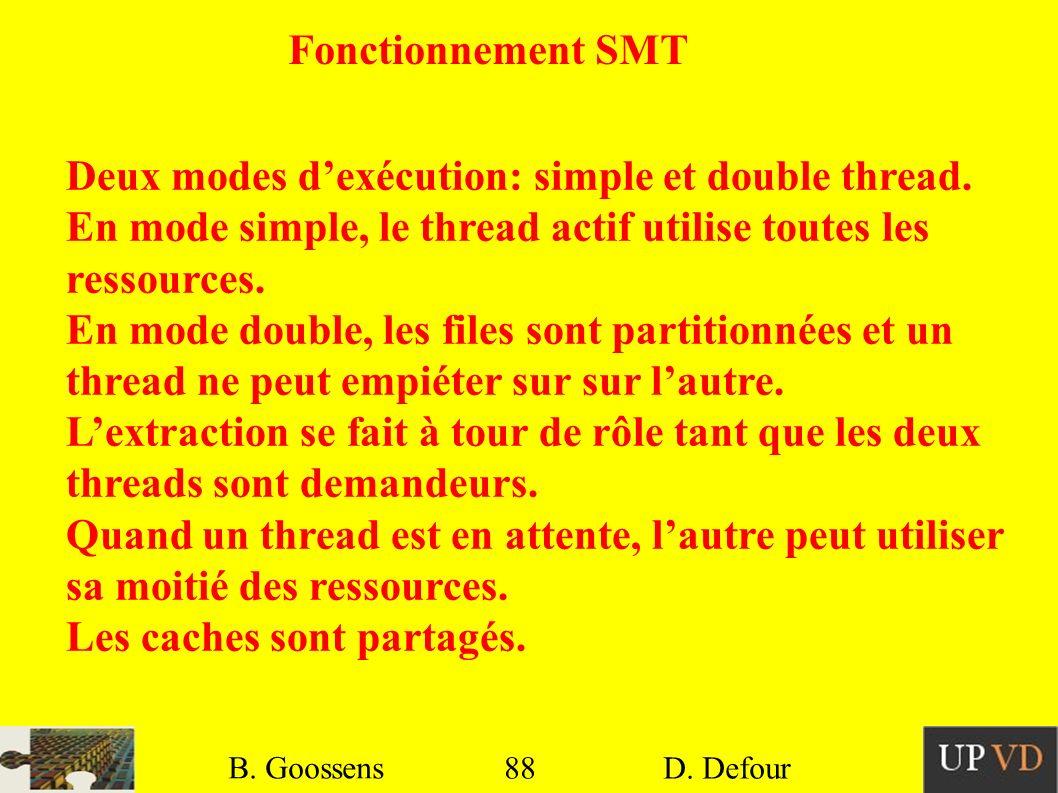 Deux modes d'exécution: simple et double thread.