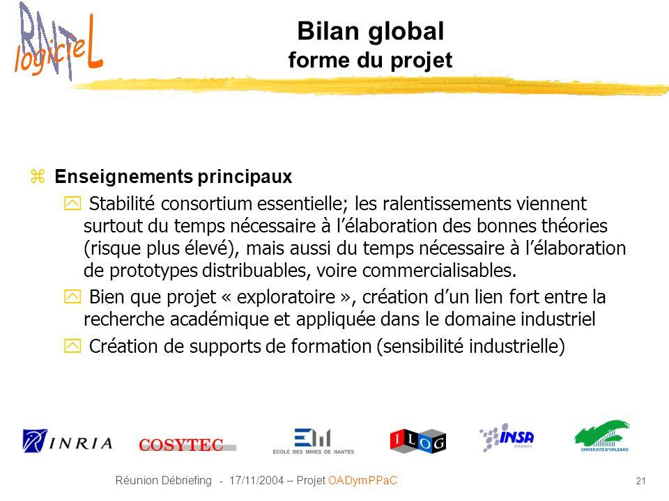 Bilan global forme du projet