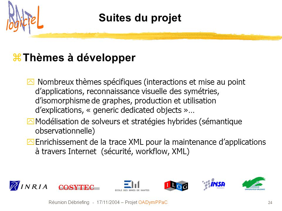 Réunion Débriefing - 17/11/2004 – Projet OADymPPaC