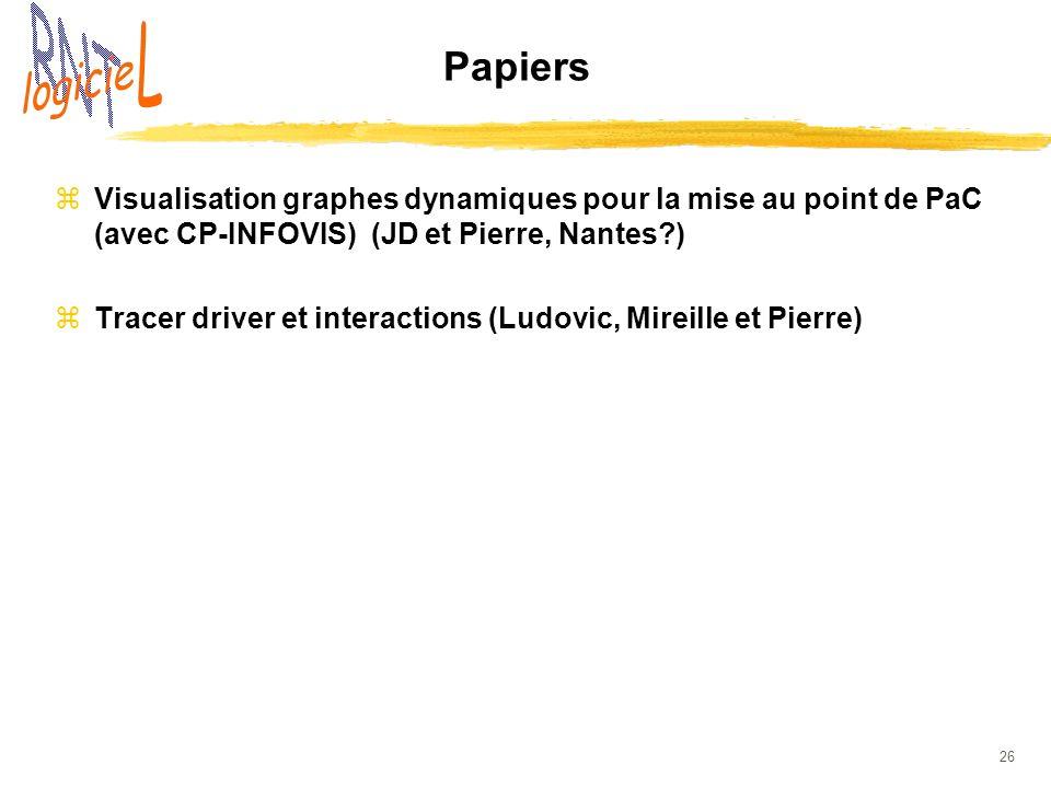 Papiers Visualisation graphes dynamiques pour la mise au point de PaC (avec CP-INFOVIS) (JD et Pierre, Nantes )