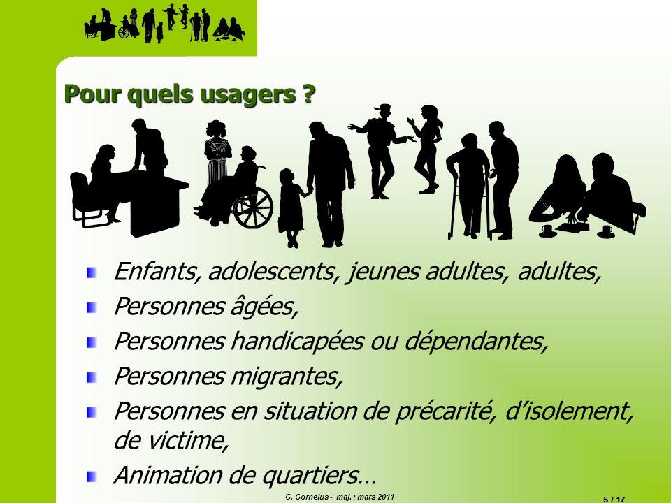 Pour quels usagers Enfants, adolescents, jeunes adultes, adultes, Personnes âgées, Personnes handicapées ou dépendantes,