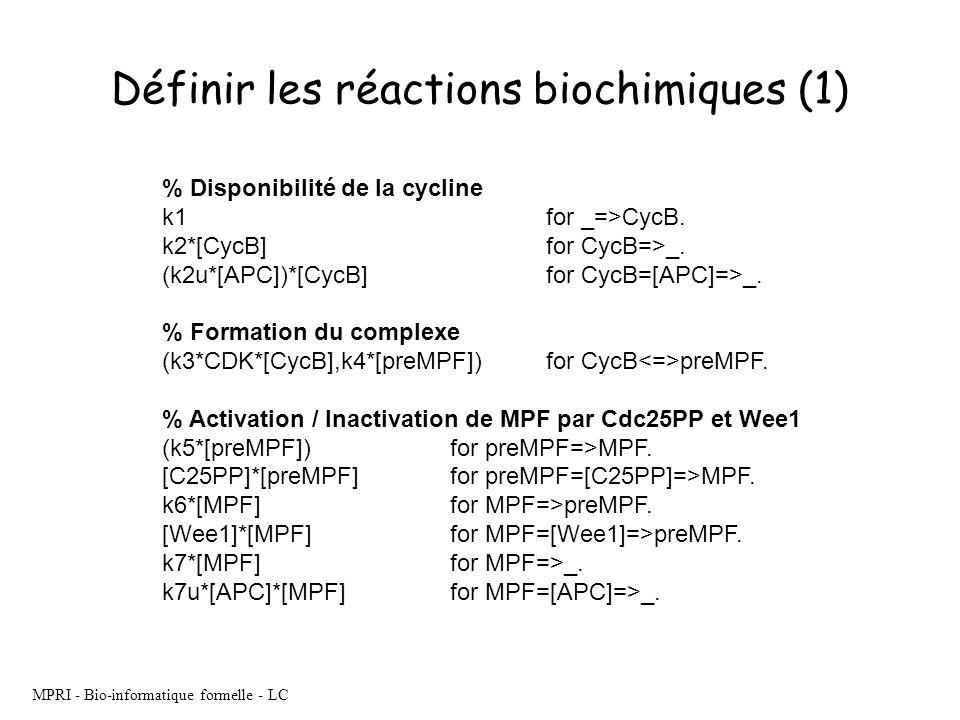 Définir les réactions biochimiques (1)