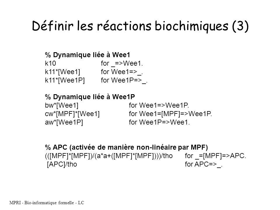 Définir les réactions biochimiques (3)