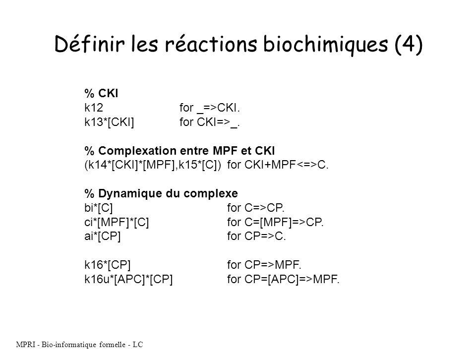Définir les réactions biochimiques (4)